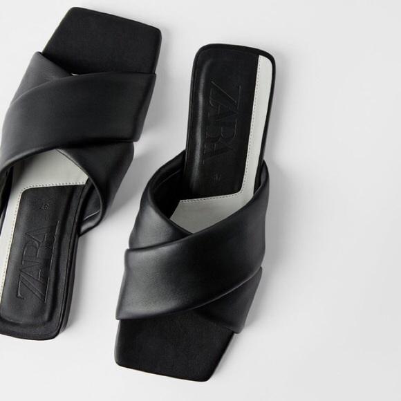 SOLDZara Square Toe Leather Flat Padded Leather